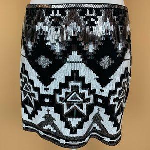 Express sequined mini skirt pullon tribal aztec